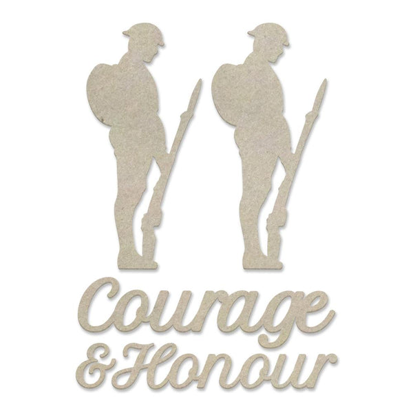 Couture Creations Lest We Forget Chipboard Courage and Honour Set (5pc) CO727704