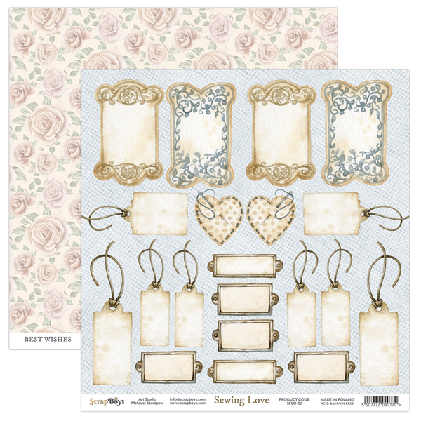 ScrapBoys - Sewing Love - 12x12 double-sided Patterned Paper (SELO-06)
