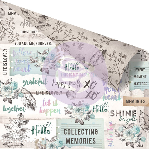 Prima Zella Teal Collect Memories 12x12 Foiled Double-sided Patterned Paper (848170)