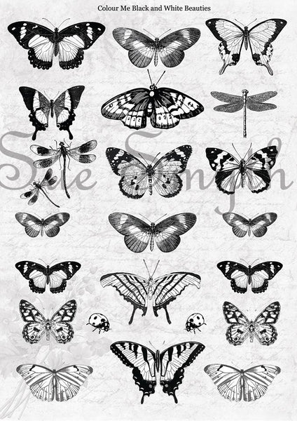 Artsy Treasures Colour Me Black & White Beauties A4 Cutout Sheet (AT011)