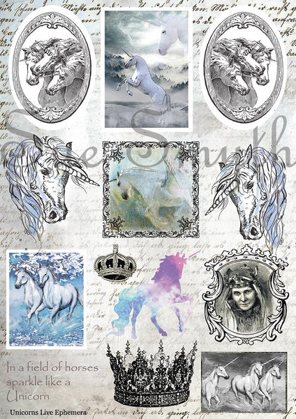 Artsy Treasures Unicorns Live A4 Cutout Sheet (AT037)
