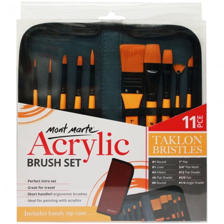 Mont Marte 11 piece Zip Case Acrylic Brush Set (BMHS0030)