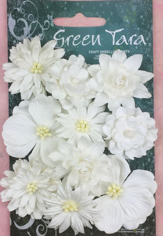 Green Tara Cornflowers - White - 10 pack CFWh