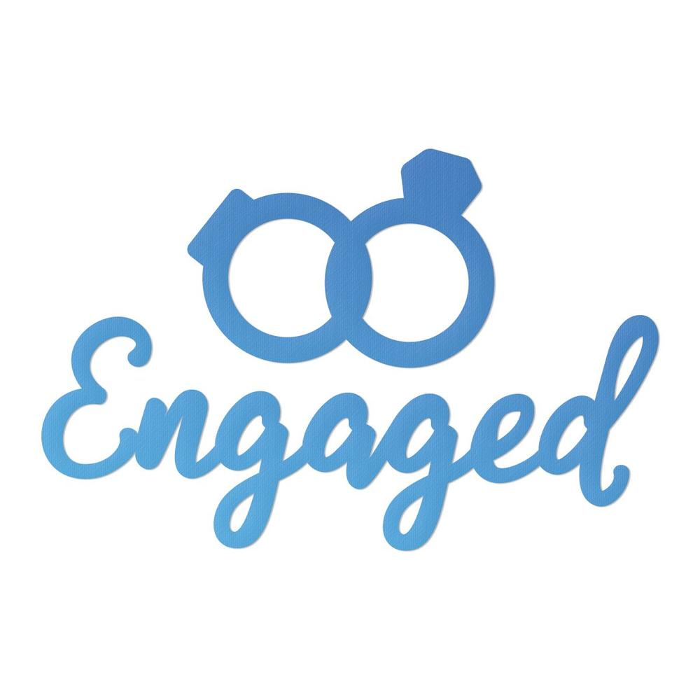 Couture Creations - Mini Die - Engaged Sentiment & Rings (CO726111)
