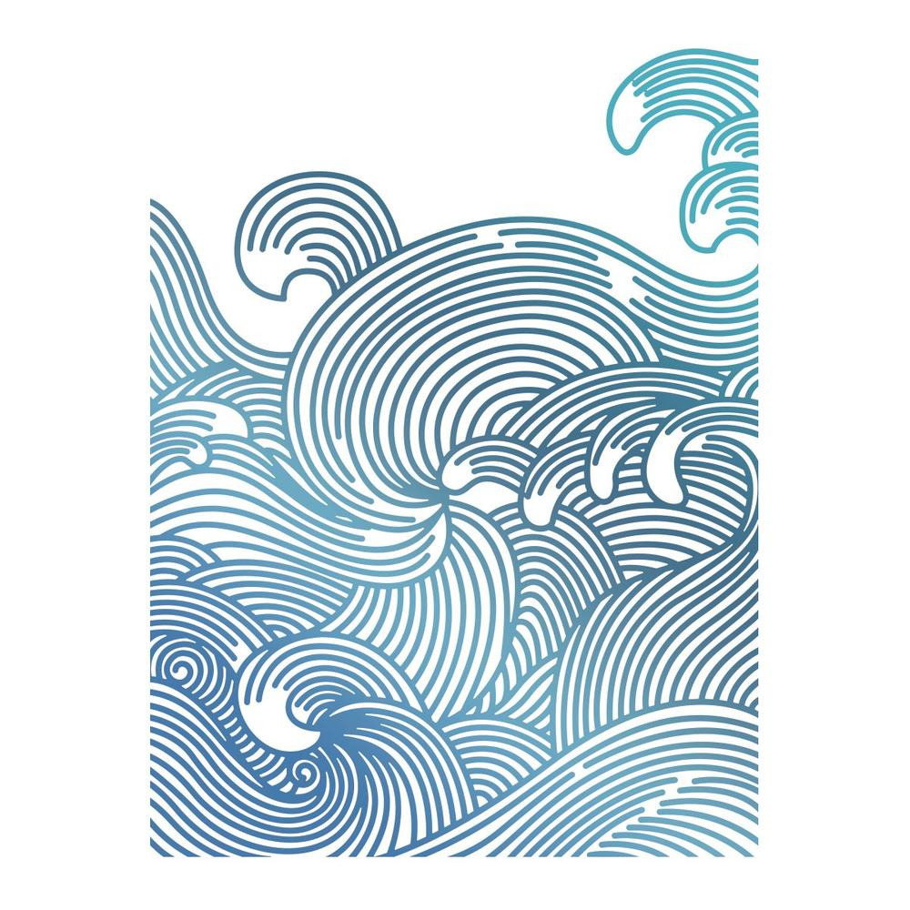 Couture Creations - Seaside & Me - Hotfoil Stamp Swirling Seas (CO726187)