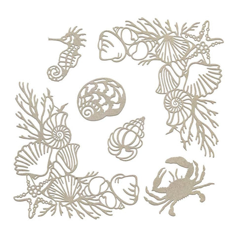 **Pre-Order** - Couture Creations - Seaside & Me - Chipboard - Seafloor Corners & Silhouettes Set (CO726190)