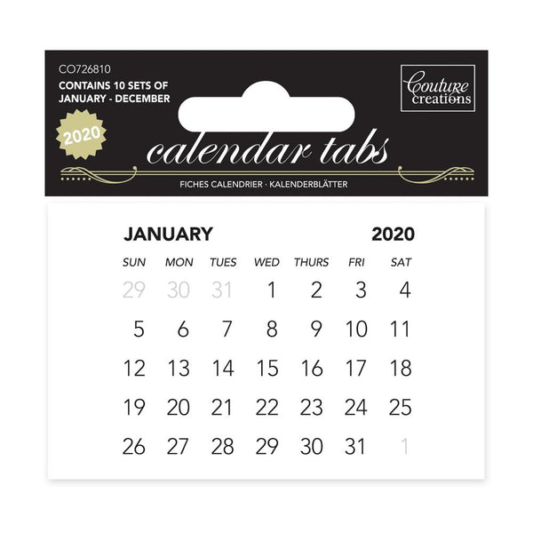 2020 Calendar Tabs - 10 sets of 12 months - 75x50mm