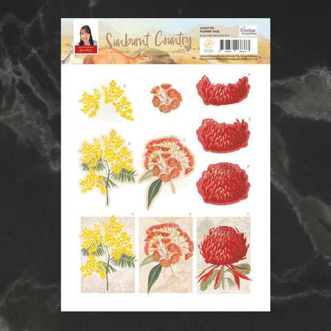 Couture Creations - Sunburnt Country - A4 Decoupage - Flower Tags (CO727193)