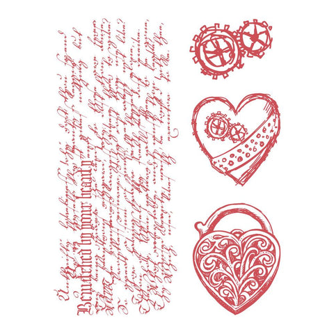 Couture Creations - Steampunk Dreams Collection - Stamp Set - Heart Locket (CO727718)