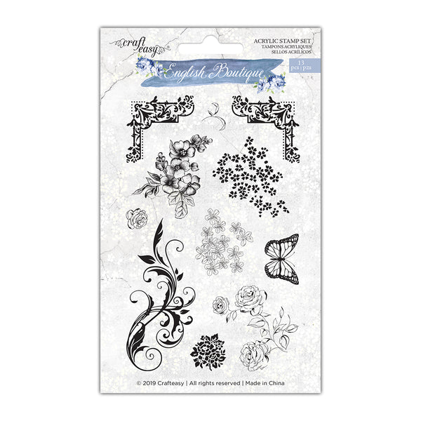 Craft Easy - English Boutique - Stamp Set - Decorative Floral (Cr000005)