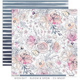 "Cocoa Vanilla Studio - 12"" X 12"" Scrapbook Paper- Midnight - Bloom & Grow (CV-MN001)"
