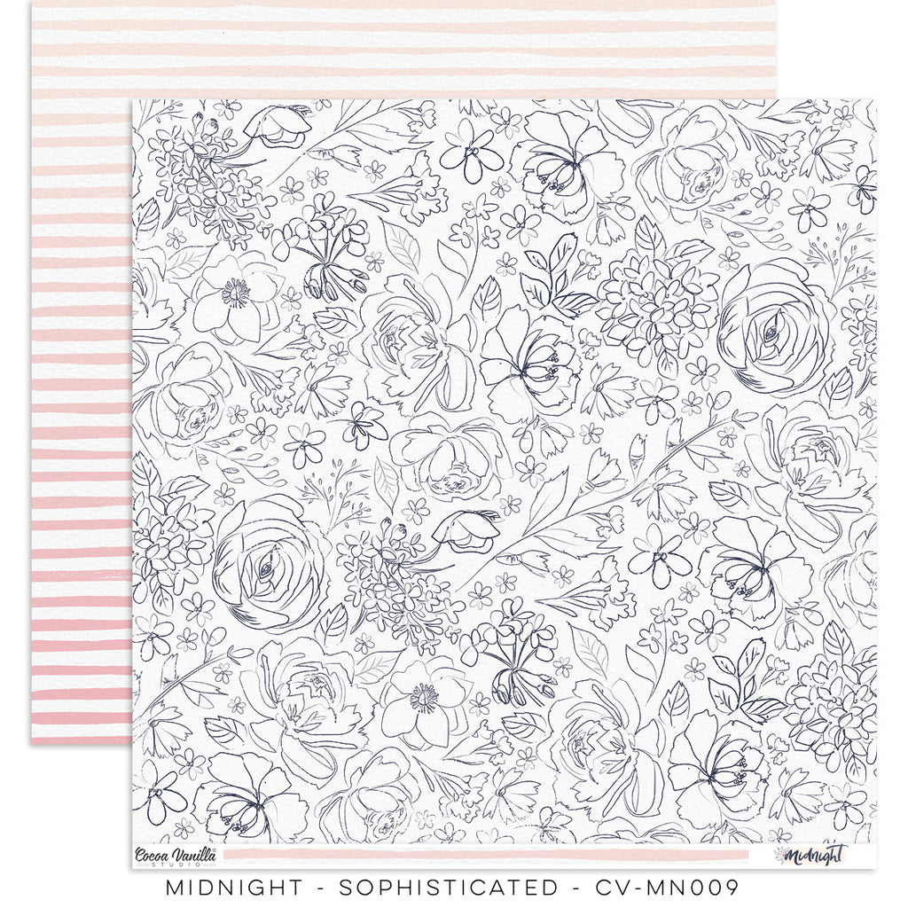 "Cocoa Vanilla Studio - 12"" X 12"" Scrapbook Paper- Midnight - Sophisticated (CV-MN009)"