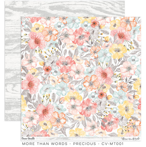 "Cocoa Vanilla Studio - More Than Words - 12"" x 12"" Designer Paper - Precious (CV-MT001)"