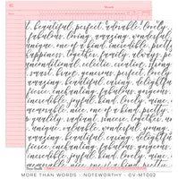 "Cocoa Vanilla Studio - More Than Words - 12"" x 12"" Designer Paper - NoteWorthy (CV-MT002)"