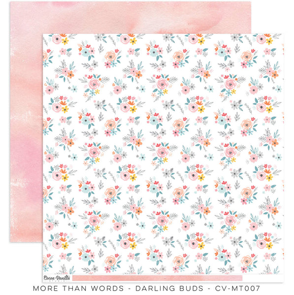 "Cocoa Vanilla Studio - More Than Words - 12"" x 12"" Designer Paper - Darling Buds (CV-MT007)"