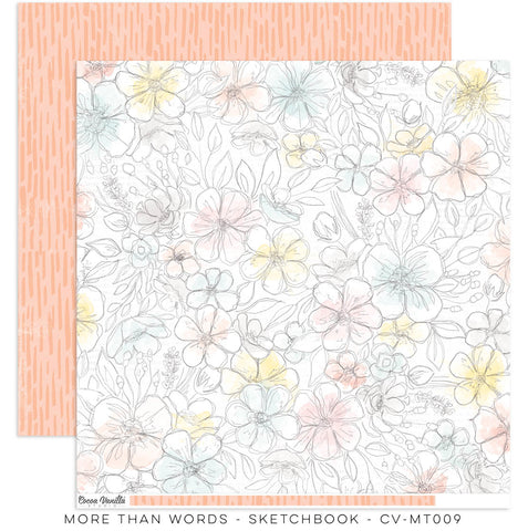"Cocoa Vanilla Studio - More Than Words - 12"" x 12"" Designer Paper - Sketchbook (CV-MT009)"