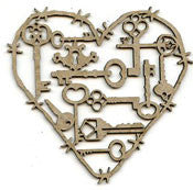 Scrap FX - Chipboard - Heart of Keys Large (2015325L)