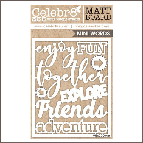 Celebr8 Ivory Chipboard - Adventure Words MB25167