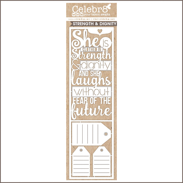Celebr8 Ivory Chipboard - She is Clothed in Strength & Dignity MB3509