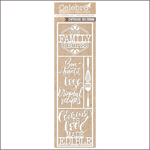 Celebr8 Ivory Chipboard - Bon Appetit -  COOKING TITLES & ELEMENTS MB3636