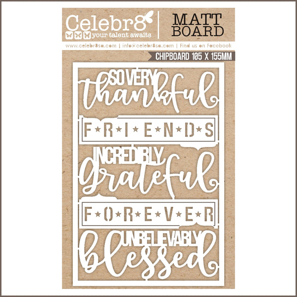 Celebr8 Ivory Chipboard - So Very Thankful MB4618