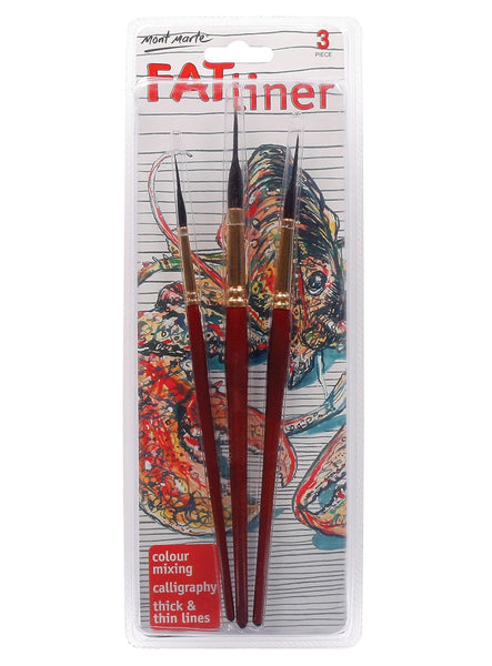 Mont Marte - Fat Liner Brush Set Taklon/Squirrel 16, 10, 6 (BMHS0006)