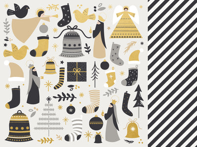 Kasiercraft - First Noel - 12x12 Scrapbook Paper - Hark (P2618)