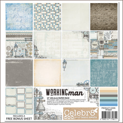 "Celebr8 12""x12"" Paper Pack - Working Man PP3607"