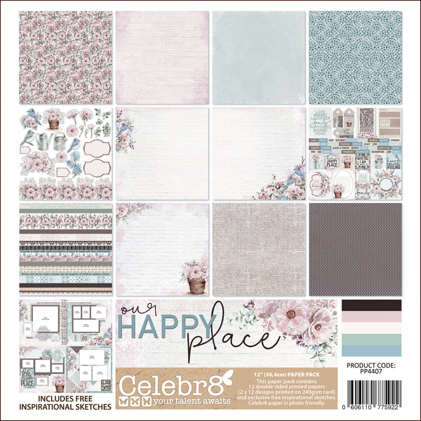 "Celebr8 12""x12"" Paper Pack - Our Happy Place PP4407"
