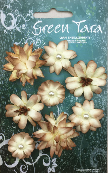 Green Tara Rustic Flowers - Natural - 8 pack RF8Nat