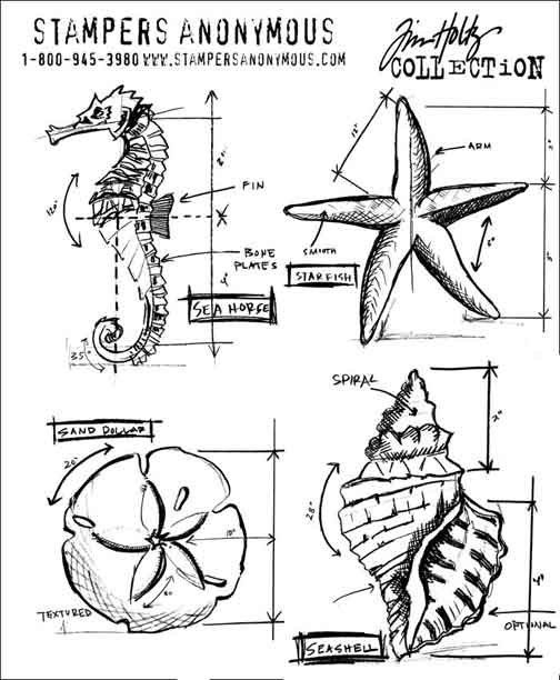 Tim Holtz - Stampers Anonymous - Cling Mounted Rubber -Nautical Blueprints (CMS194)