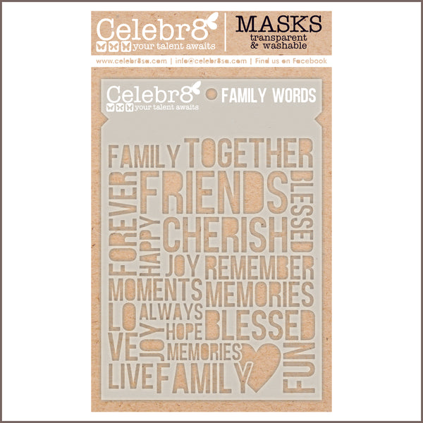 Celebr8 - Stencil Mask Template - Family Words SM4614
