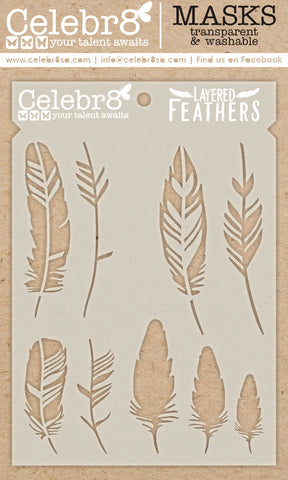 Celebr8 - Stencil Mask Template - Layered Feathers SM4618
