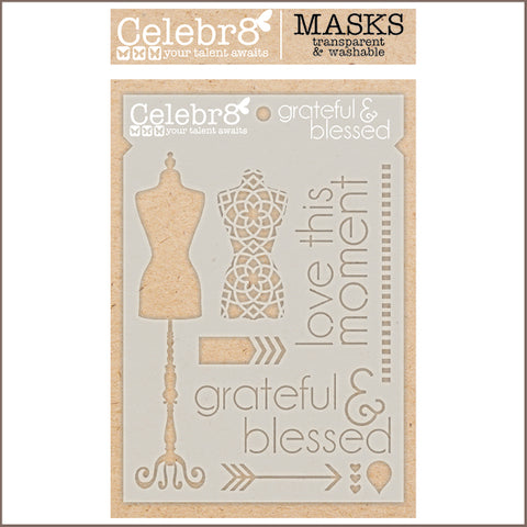 Celebr8 - Stencil Mask Template - A Formal Affair - Grateful & Blessed SM4629