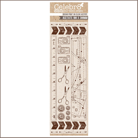 "Celebr8 4""x12"" Transparency - A Formal Affair TS3037 (Brown Print)"
