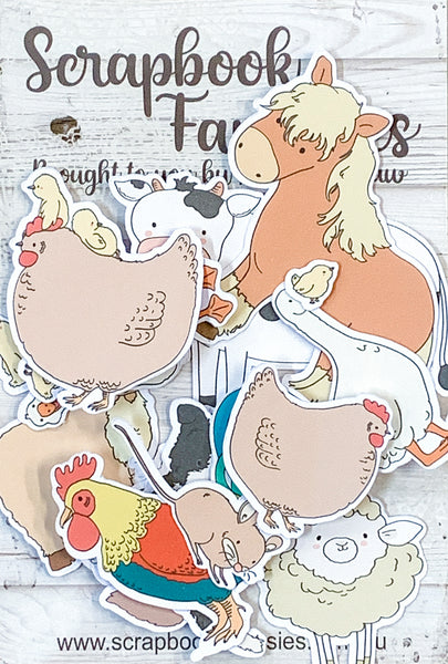 Redwood Farm Colour-Cuts Minis - Cute Farm (16 pieces) Designed by Alicia Redshaw Exclusively for Scrapbook Fantasies