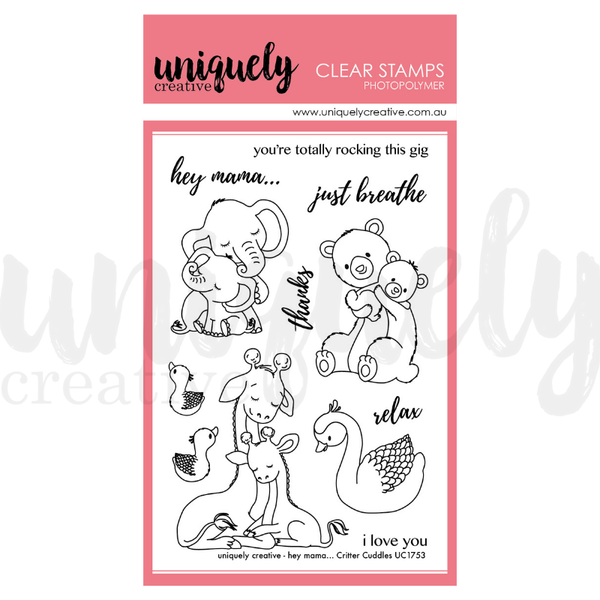 Uniquely Creative - Clear Stamp - Hey Mama...Critter Cuddles (UC1753)