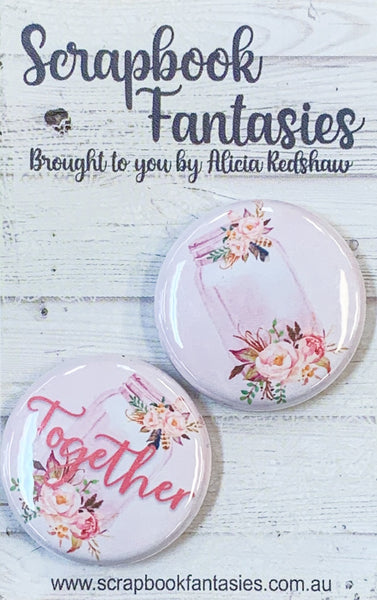 "Flair Buttons [1""] - Together Mason Jars (2 pieces) Designed by Alicia Redshaw"