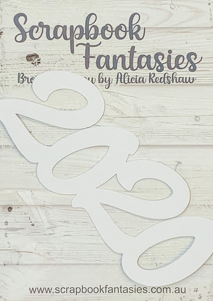 "2020 (script) 2.25""x5.5"" White Linen Cardstock Title-Cut - Designed by Alicia Redshaw"