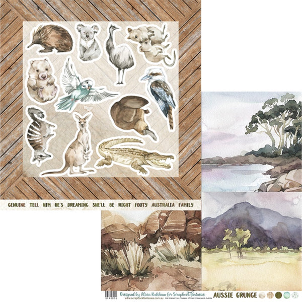Aussie Grunge 12x12 Double-Sided Patterned Paper 005 Designed by Alicia Redshaw Exclusively for Scrapbook Fantasies