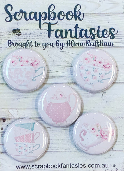 "Springtime Tea Party Flair Buttons [1""] - Tea-a-lotomy (5 pieces) Designed by Alicia Redshaw"