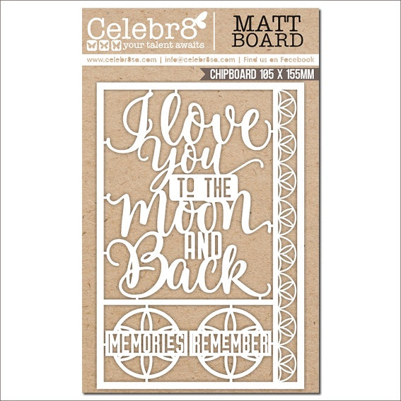 Pre-Order Celebr8 Ivory Chipboard -Stargazer - Love you to the Moon   MB4646