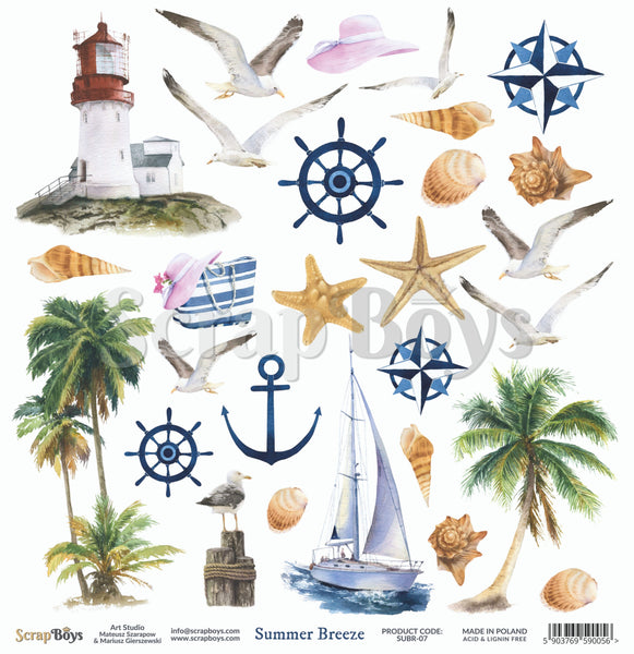 ScrapBoys - Summer Breeze - 12 x 12 Pattern Paper (Subr-07)