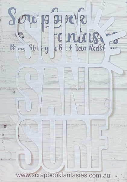 "Sun Sand Surf 3.75""x5.75"" White Linen Cardstock Title-Cut - Designed by Alicia Redshaw"