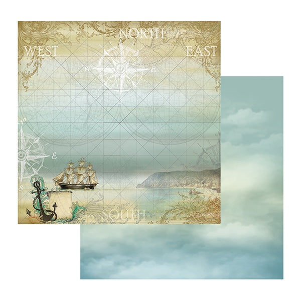 Couture Creations Sea Breeze Adventurous 12x12 double-sided patterned paper CO724653