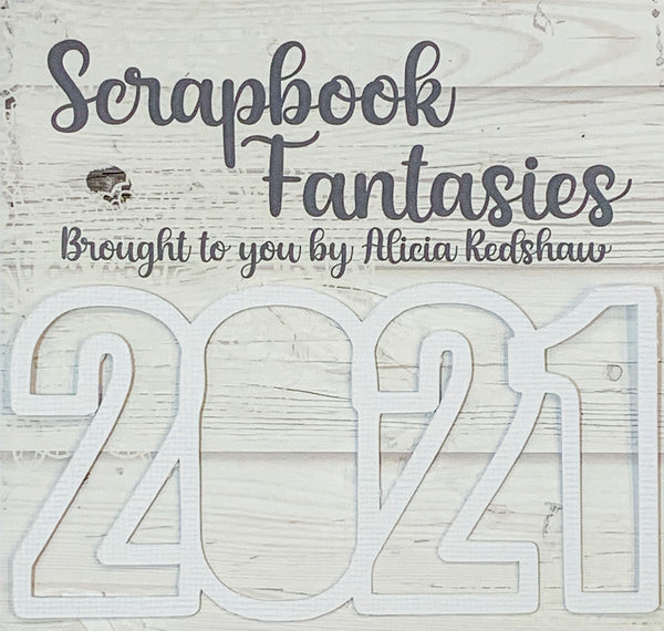 "2021 (open) 2.25""x4.5"" White Linen Cardstock Title-Cut - Designed by Alicia Redshaw"