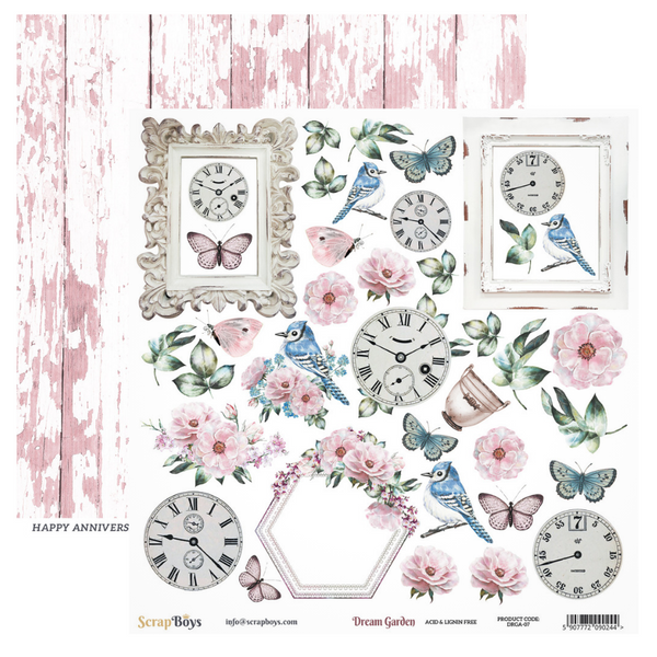 Pre-Order - ScrapBoys - Dream Garden - 12x12 Pattern Paper with Cut outs (Drga-07)