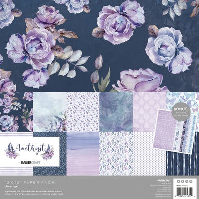 Kaisercraft Amethyst Paper Pack with Bonus Sticker Sheet - PK619