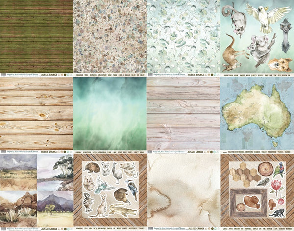 Aussie Grunge 12x12 Double-Sided Patterned Paper Pack Designed by Alicia Redshaw Exclusively for Scrapbook Fantasies