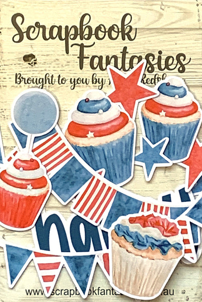 Colour-Cuts Minis - Cupcakes & Banners - Blue & Red (12 pieces) Designed by Alicia Redshaw